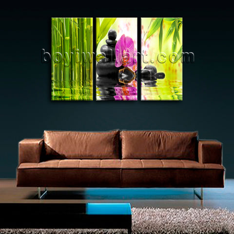 Large Relaxing Spa Feng Shui Floral Hd Print Modern Painting Triptych Pieces Art