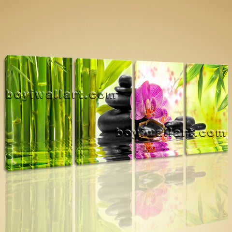 Large Relaxing Spa Feng Shui Floral Wall Decor Modern Art Canvas Print