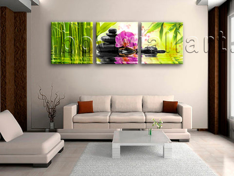 Large Relaxing Spa Feng Shui Floral Wall Art Modern Oil Painting Prints