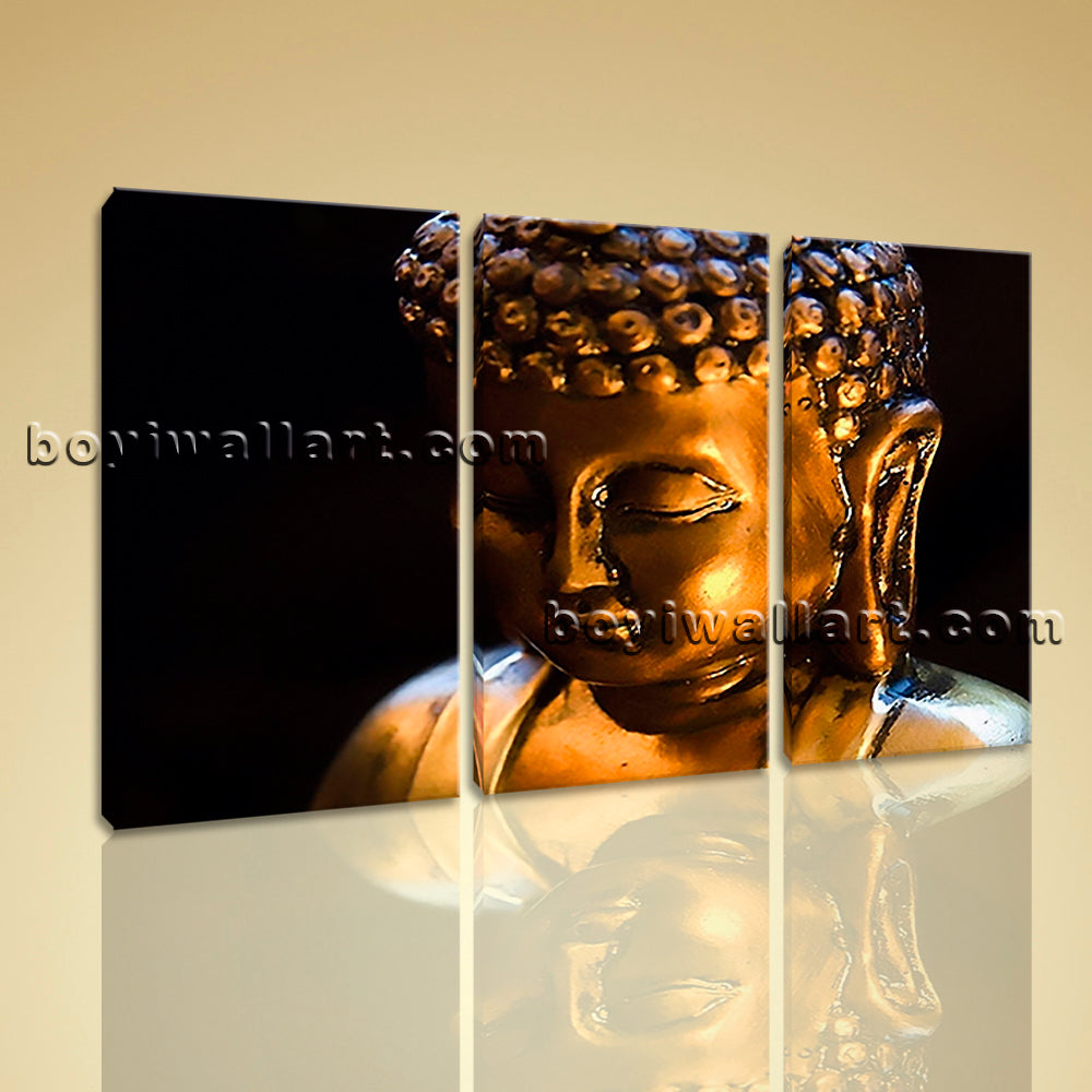 Large Buddha Face Canvas Art Contemporary Painting On Triptych Panels Print