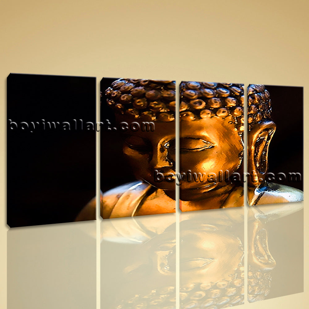 Large Buddha Face Painting Contemporary Canvas Art Bedroom Four Pieces Print