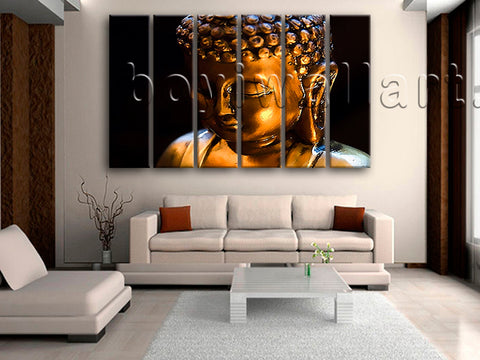 Large Buddha Face Canvas Art Contemporary Painting Living Room 6 Pieces Prints