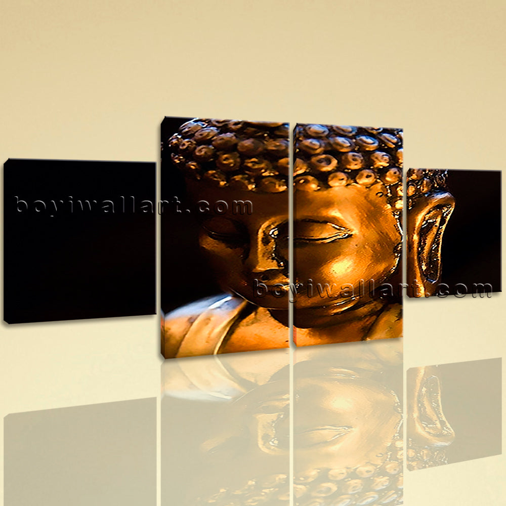 Large Buddha Face Picture Contemporary Wall Art Dining Room Canvas Print