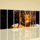 Extra Large Buddha Face Canvas Art Painting On Heptaptych Pieces Print
