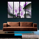 Large Abstract Flower Floral Painting Modern Wall Art 4 Pieces Canvas Print