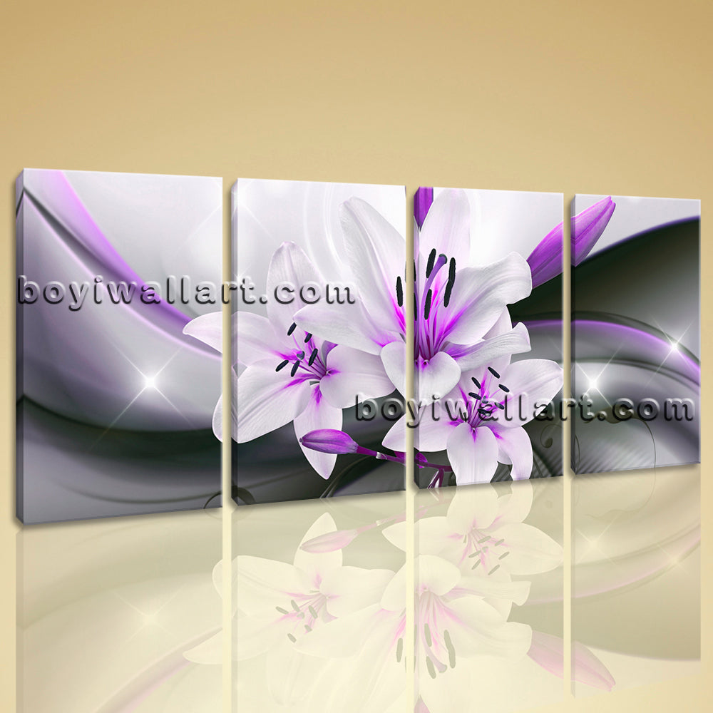 Large Abstract Flower Floral Wall Decor Modern Bedroom Four Pieces Giclee Print