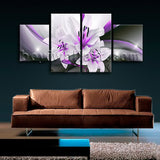 Large Abstract Flower Floral Wall Decor Modern Art Dining Room Four Pieces Print