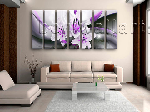 Extra Large Abstract Flower Floral Hd Print Modern Wall Art Heptaptych Pieces