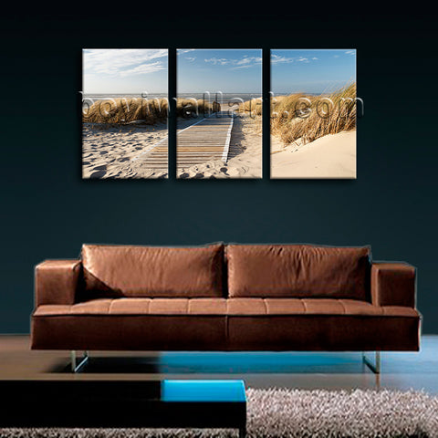 Large Landscape Beac Hbeach Picture Art Painting Triptych Pieces Print