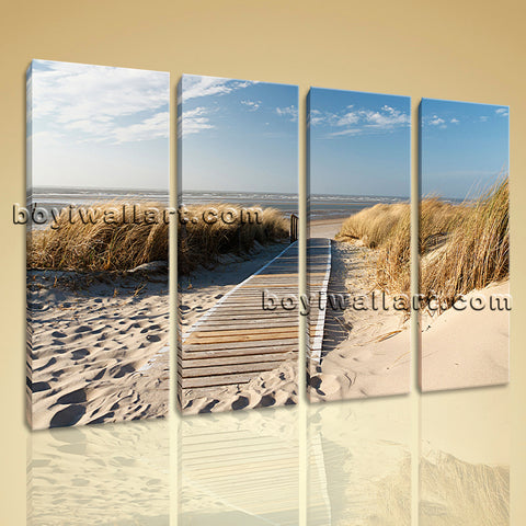 Large Landscape Beac Hbeach Picture Home Decor Living Room Four Pieces Print