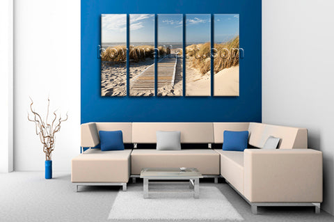 Large Landscape Beac Hbeach Print Painting On Canvas Dining Room Five Panels