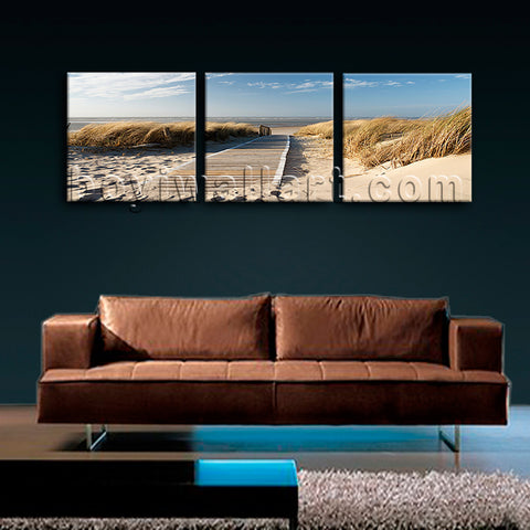Large Landscape Beac Hbeach Canvas Art Wall Bedroom Triptych Panels Print