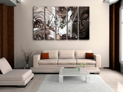 Large Feng Shui Buddha Wall Decor Modern Painting Dining Room Five Pieces Prints
