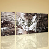 Large Feng Shui Buddha Wall Art Modern Oil Painting Bedroom 4 Pieces Prints