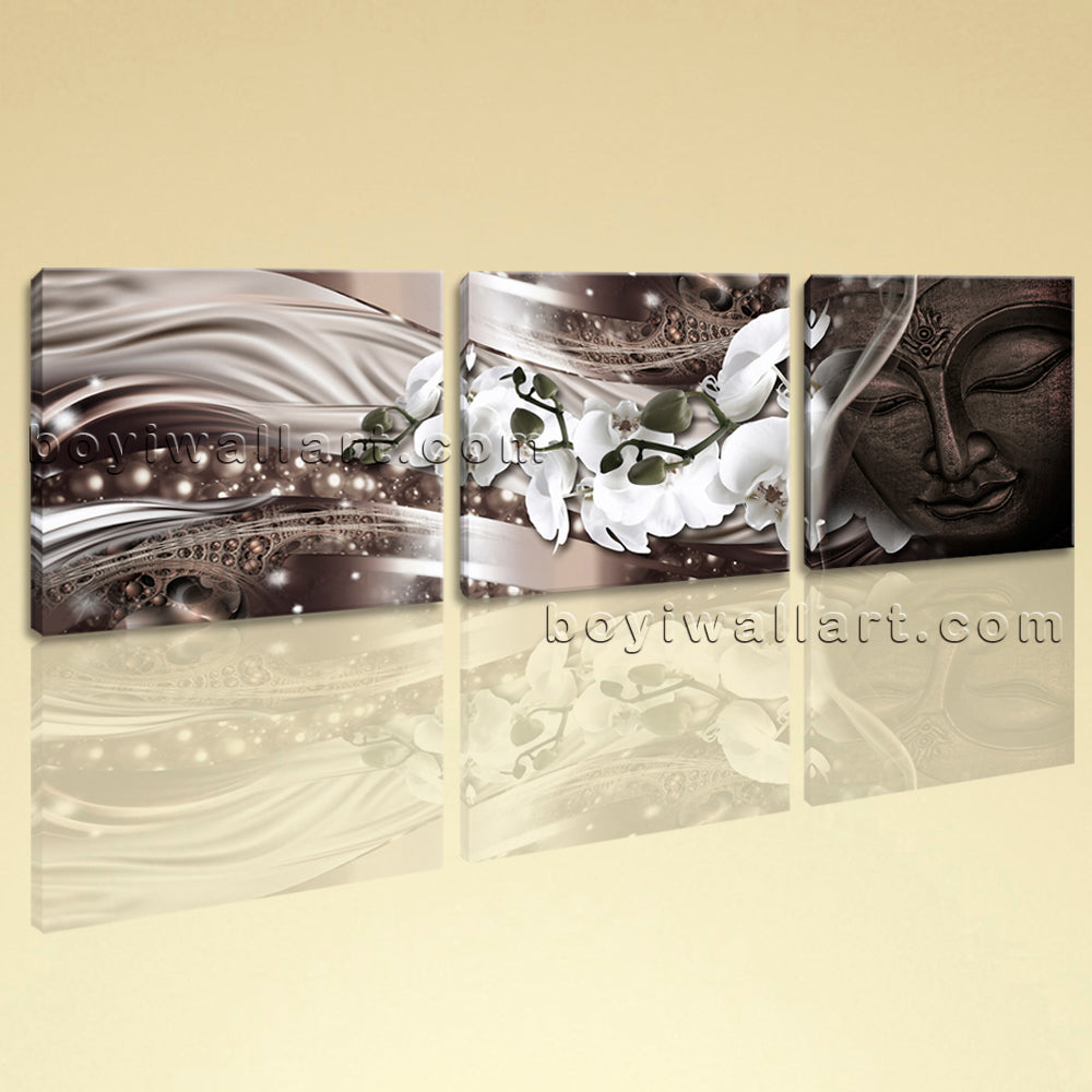 Large Feng Shui Buddha Wall Decor Modern Canvas Art Bedroom Three Panels Print