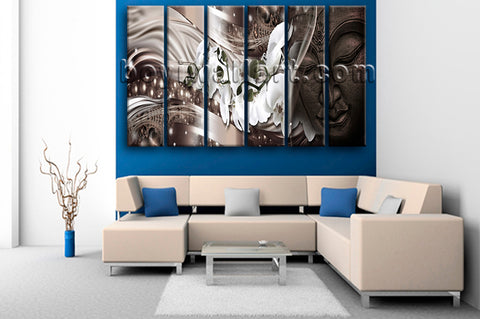 Large Feng Shui Buddha Wall Decor Modern Oil Painting Living Room Art Print