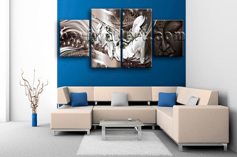 Large Feng Shui Buddha Picture Modern Home Decor Dining Room Four Pieces Prints