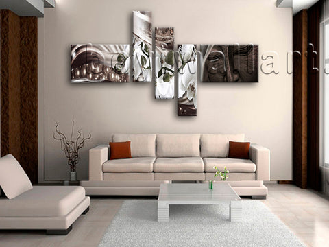 Huge Feng Shui Buddha Wall Art Modern Living Room Pentaptych Panels Prints