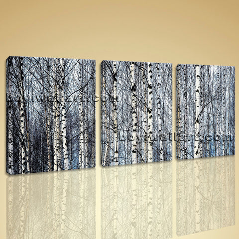 Large Nature Tree Forest Canvas Art Home Decor Living Room Triptych Panels Print