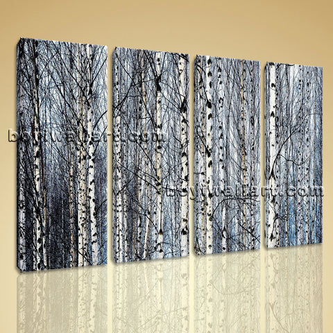 Large Nature Tree Forest Picture Contemporary Canvas Art Four Pieces Print