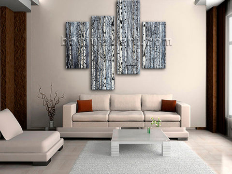 Large Nature Tree Forest Hd Print Painting On Canvas Tetraptych Panels Art