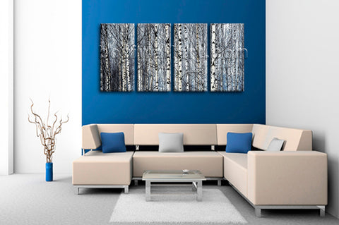 Large Nature Tree Forest Hd Print Painting On Canvas Bedroom 4 Panels Prints