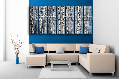 Extra Large Nature Tree Forest Print Wall Decor Heptaptych Pieces Art