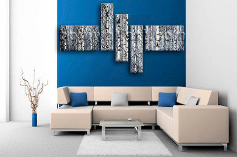 Huge Nature Tree Forest Picture Art Painting Pentaptych Pieces Canvas Print