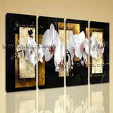 Large Abstract Flower Floral Picture Art Painting Four Panels Canvas Print