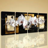 Large Abstract Flower Floral Canvas Art Painting On Bedroom Four Panels Prints