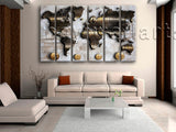 Large Modern Abstract World Map Canvas Art Painting Living Room Six Panels Print