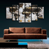 Extra Large Modern Abstract World Map Wall Decor Dining Room Art Print