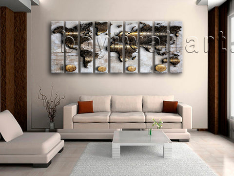 Huge Modern Abstract World Map Hd Print Home Decor Nine Panels Giclee