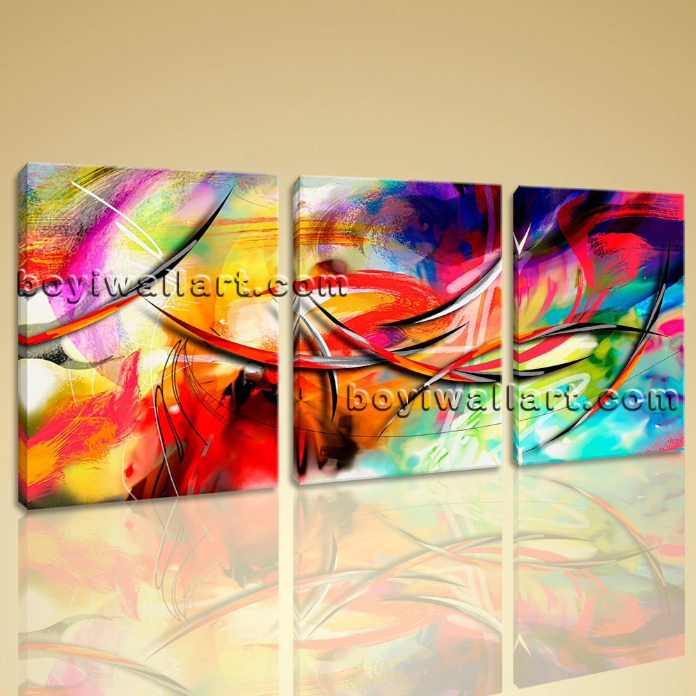 Large Abstract Paintings Print Contemporary Art Painting Three Panels