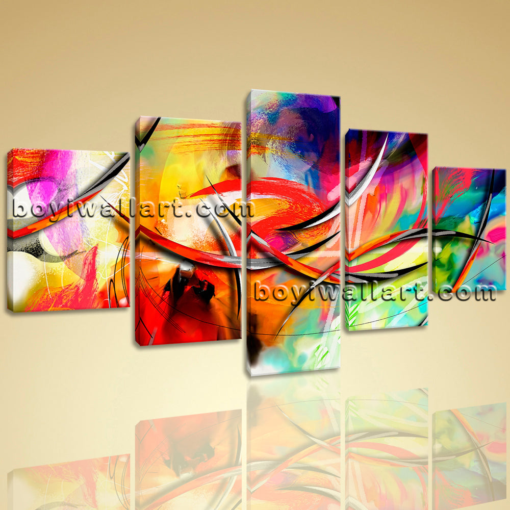 Large Abstract Paintings Print Wall Decor Dining Room Pentaptych Pieces Prints