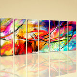 Extra Large Abstract Paintings Canvas Art Oil Painting Seven Panels Print