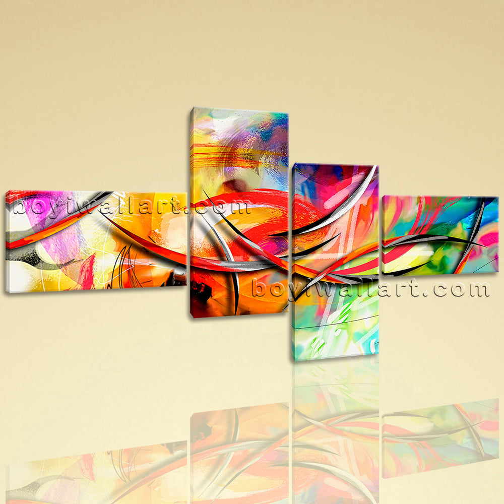 Extra Large Abstract Paintings Print Contemporary Wall Decor 4 Panels Prints