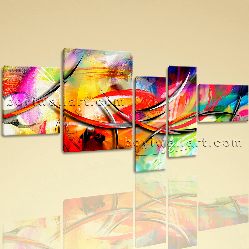 Extra Large Abstract Paintings Hd Print Contemporary Art Painting 5 Panels
