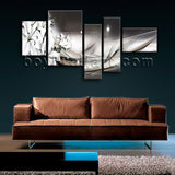 Extra Large Modern Abstract Wall Art Floral Picture Canvas Five Panels Print