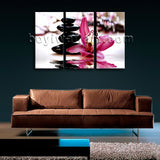 Large Feng Shui Relaxing Floral Painting Modern Home Decor Triptych Pieces Print