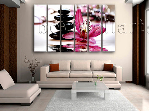 Large Feng Shui Relaxing Floral Canvas Art Modern Wall 6 Pieces Prints