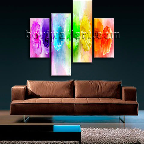 Large Rainbow Color Flower Art Floral Wall Impressionist Painting Prints