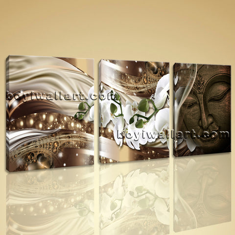 Large Feng Shui Buddha Picture Modern Canvas Art Living Room Three Pieces Print