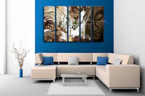 Large Feng Shui Buddha Wall Art Modern Canvas Dining Room 5 Pieces Prints