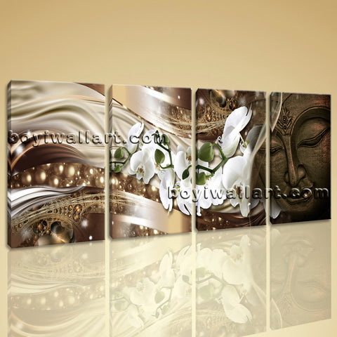 Large Feng Shui Buddha Wall Decor Modern Painting Canvas 4 Panels Art Print