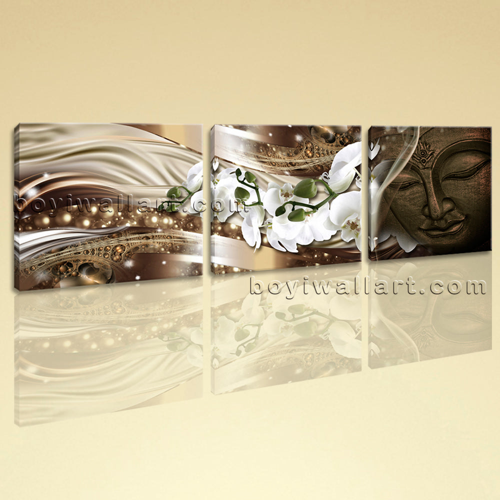 Large Feng Shui Buddha Picture Modern Canvas Art Bedroom Triptych Pieces Print