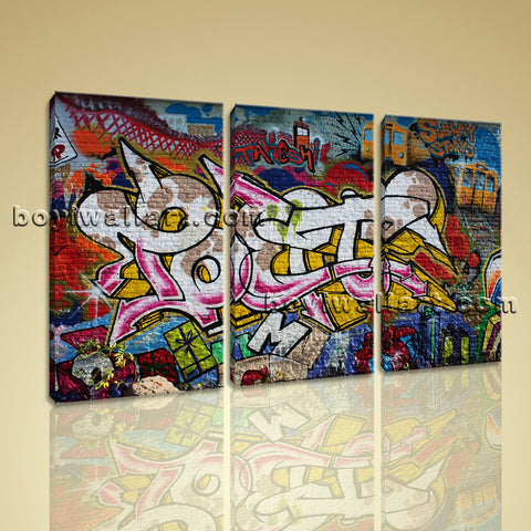 Large Street Art Abstract Painting Expressionism Bedroom Triptych Pieces Prints