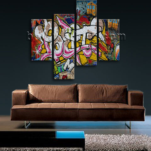 Large Street Art Abstract Wall Home Decor Bedroom Tetraptych Panels Canvas Print
