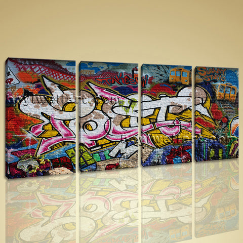 Large Street Art Abstract Wall Painting On Canvas Bedroom Four Panels Print