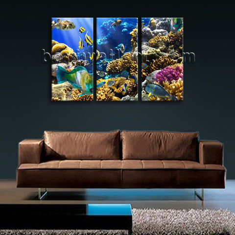 Large Tropical Fis Hanimal Hd Print Painting On Canvas Bedroom Three Pieces Art